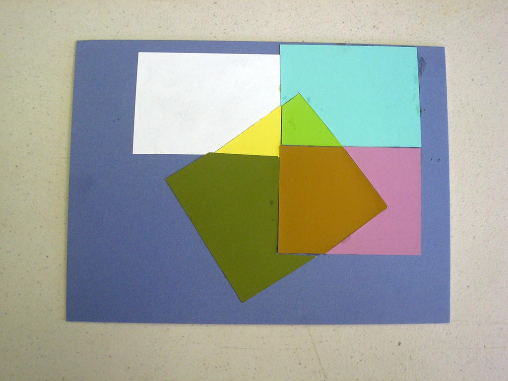 Illusion of a film: a collage inlay made only of opaque colors