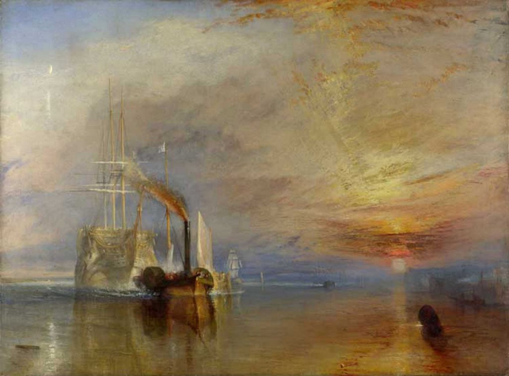 "The Fighting ""Temeraire"" tugged to her last berth to be broken up.1838 Oil on canvas, 91 x 122 cm; National Gallery, London"