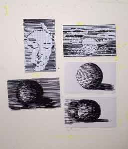 Valerie's drawings on index cards using only parallel lines