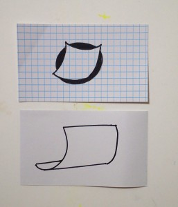 Two of Valerie's drawings of squares on index cards