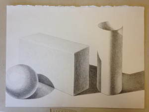 Pencil rendering of geometric forms (4)