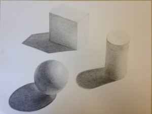 Pencil rendering of geometric forms (5)