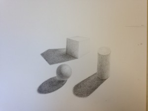 Pencil rendering of geometric forms (6)