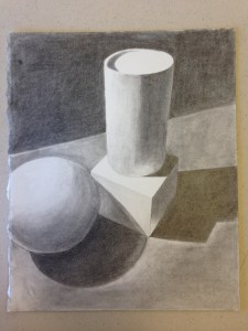 Pencil rendering of geometric forms